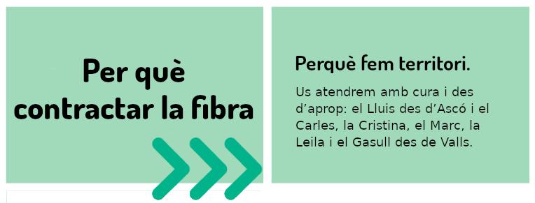 Per què contractar la fibra? - Perquè fem territori. Us atendrem amb cura i des d'aprop: el Lluís des d'Ascó i el Carles, la Cristina, el Marc, la Laila i el Gasull des de Valls.